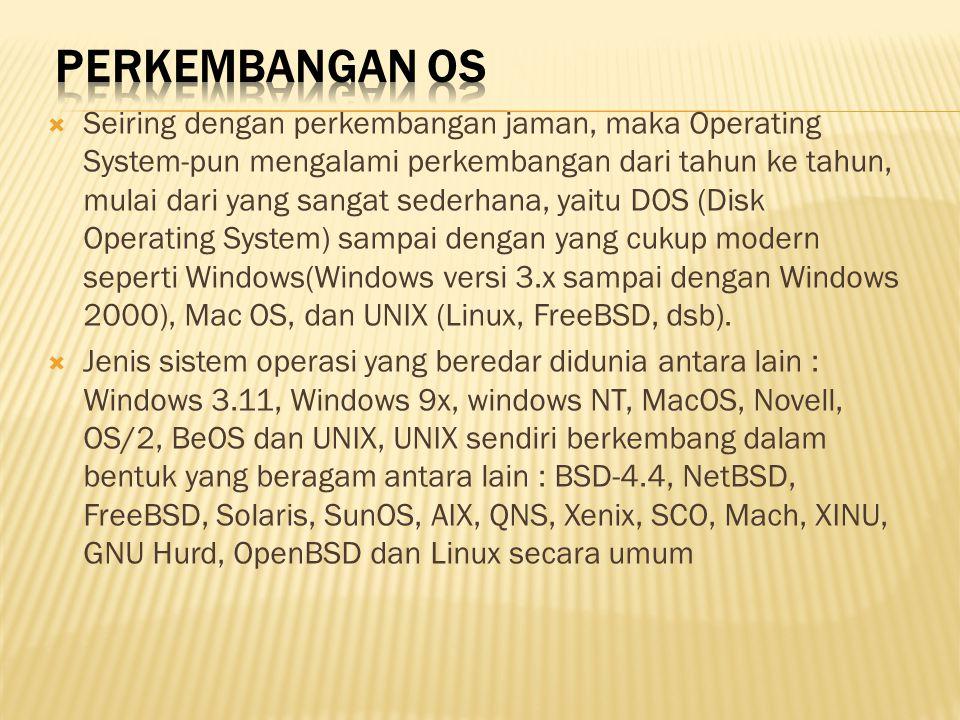  Seiring dengan perkembangan jaman, maka Operating System-pun mengalami perkembangan dari tahun ke tahun, mulai dari yang sangat sederhana, yaitu DOS