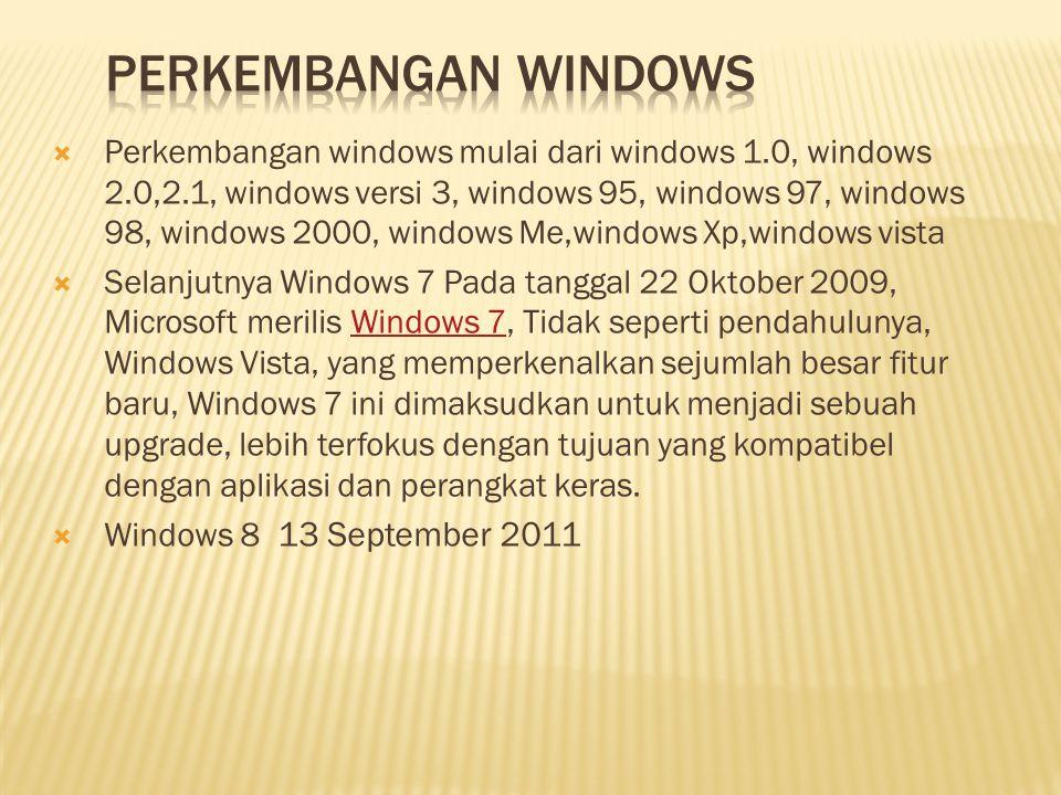  Perkembangan windows mulai dari windows 1.0, windows 2.0,2.1, windows versi 3, windows 95, windows 97, windows 98, windows 2000, windows Me,windows