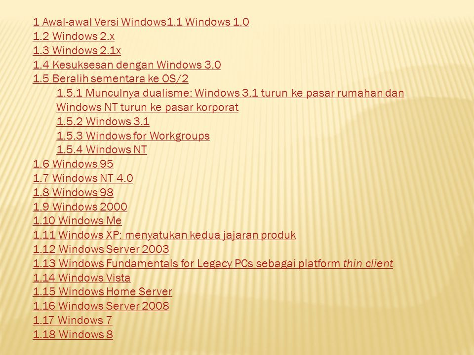 1 Awal-awal Versi Windows1.1 Windows 1.0 1.2 Windows 2.x 1.3 Windows 2.1x 1.4 Kesuksesan dengan Windows 3.0 1.5 Beralih sementara ke OS/2 1.5.1 Muncul