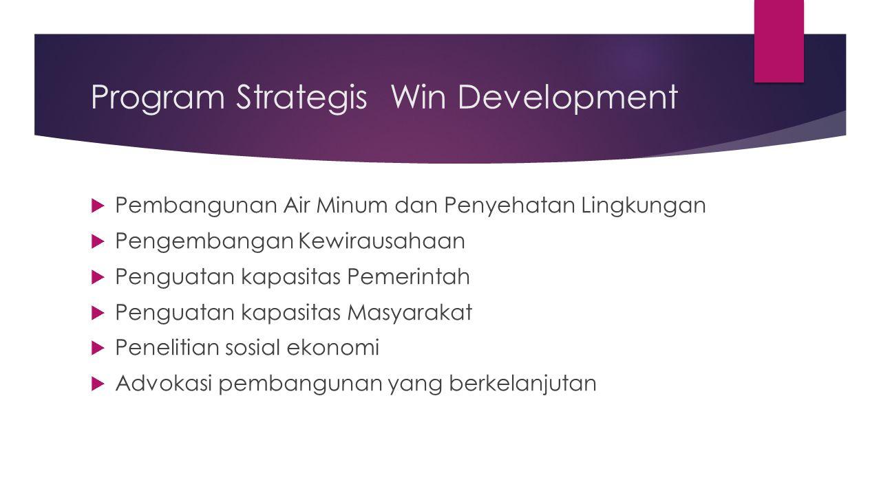 Program Strategis Win Development  Pembangunan Air Minum dan Penyehatan Lingkungan  Pengembangan Kewirausahaan  Penguatan kapasitas Pemerintah  Pe
