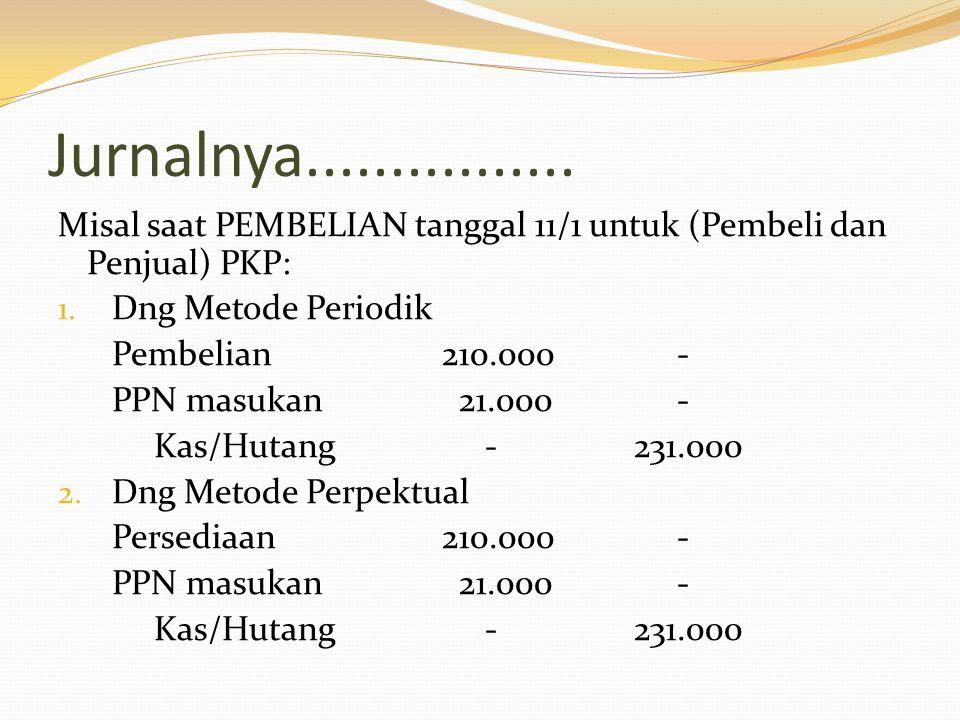 Misal saat PEMBELIAN tanggal 11/1 untuk penjual PKP dan pembeli bukan PKP: 1.