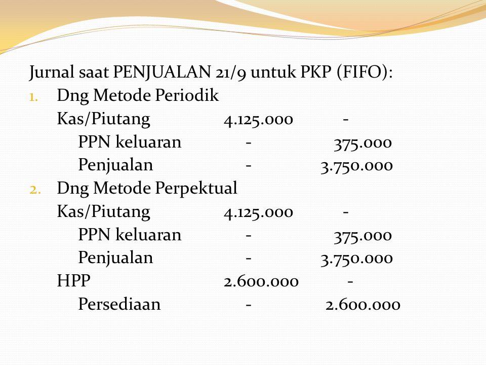 Jurnal saat PENJUALAN 21/9 untuk bukan PKP (FIFO): 1.