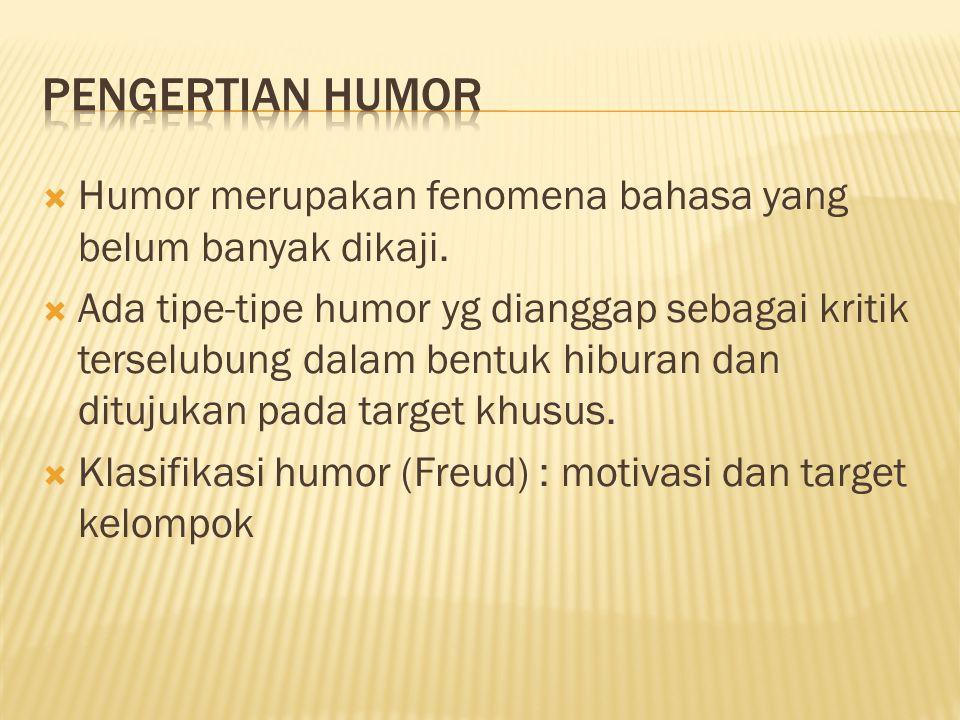 Humor merupakan fenomena bahasa yang belum banyak dikaji.