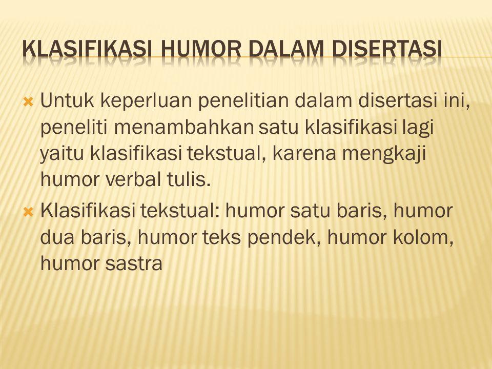  Untuk keperluan penelitian dalam disertasi ini, peneliti menambahkan satu klasifikasi lagi yaitu klasifikasi tekstual, karena mengkaji humor verbal tulis.