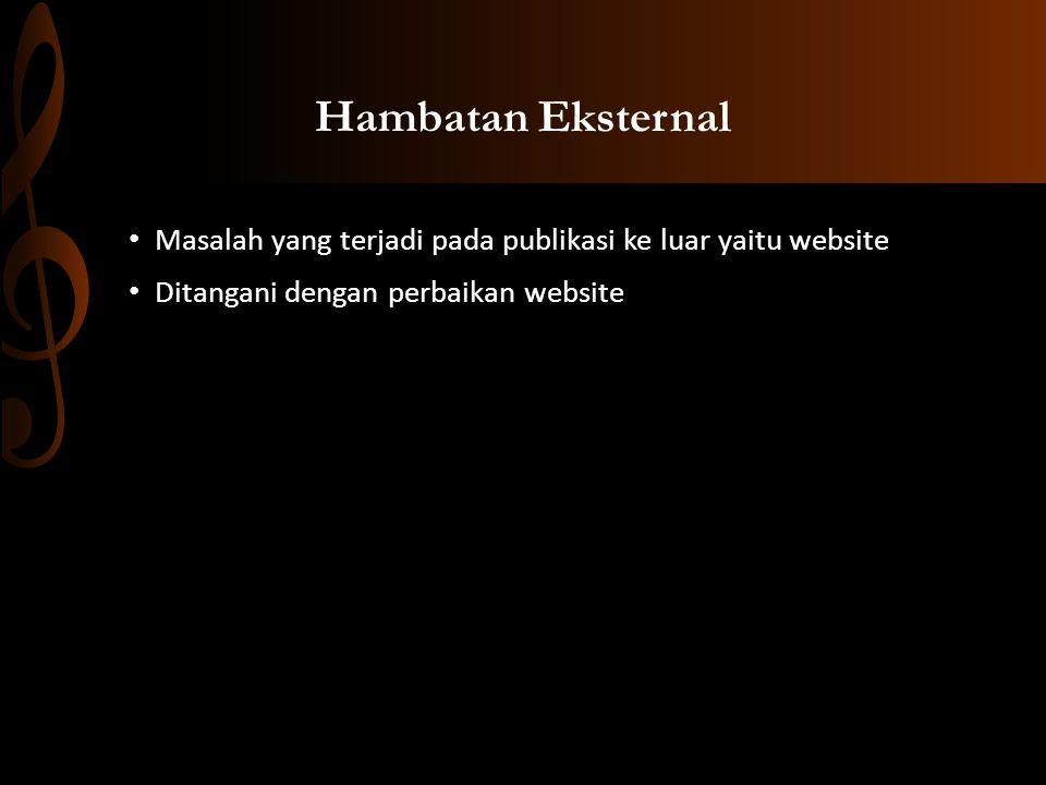 Hambatan Eksternal Masalah yang terjadi pada publikasi ke luar yaitu website Ditangani dengan perbaikan website