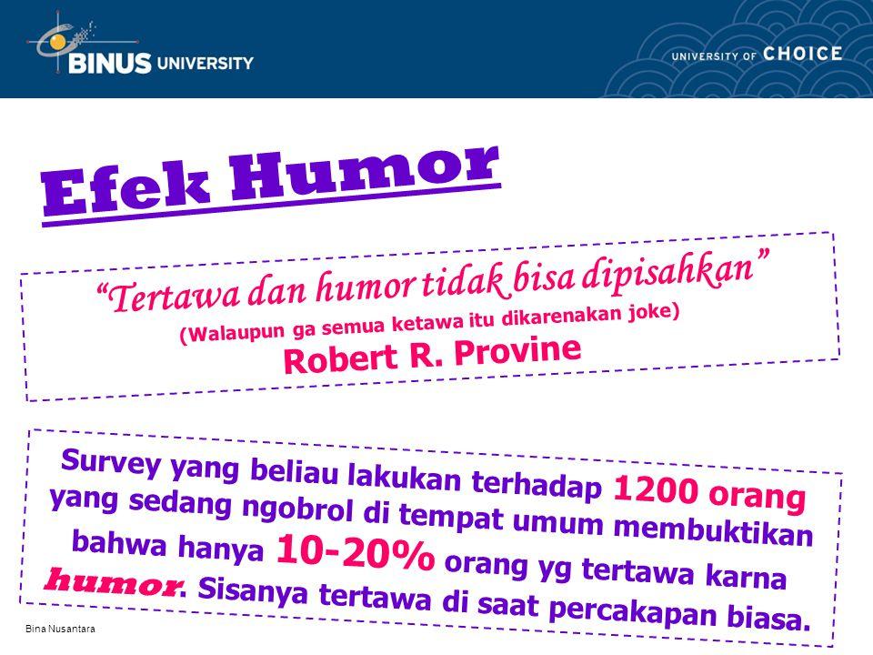 """Bina Nusantara Efek Humor """"Tertawa dan humor tidak bisa dipisahkan"""" (Walaupun ga semua ketawa itu dikarenakan joke) Robert R. Provine Survey yang beli"""