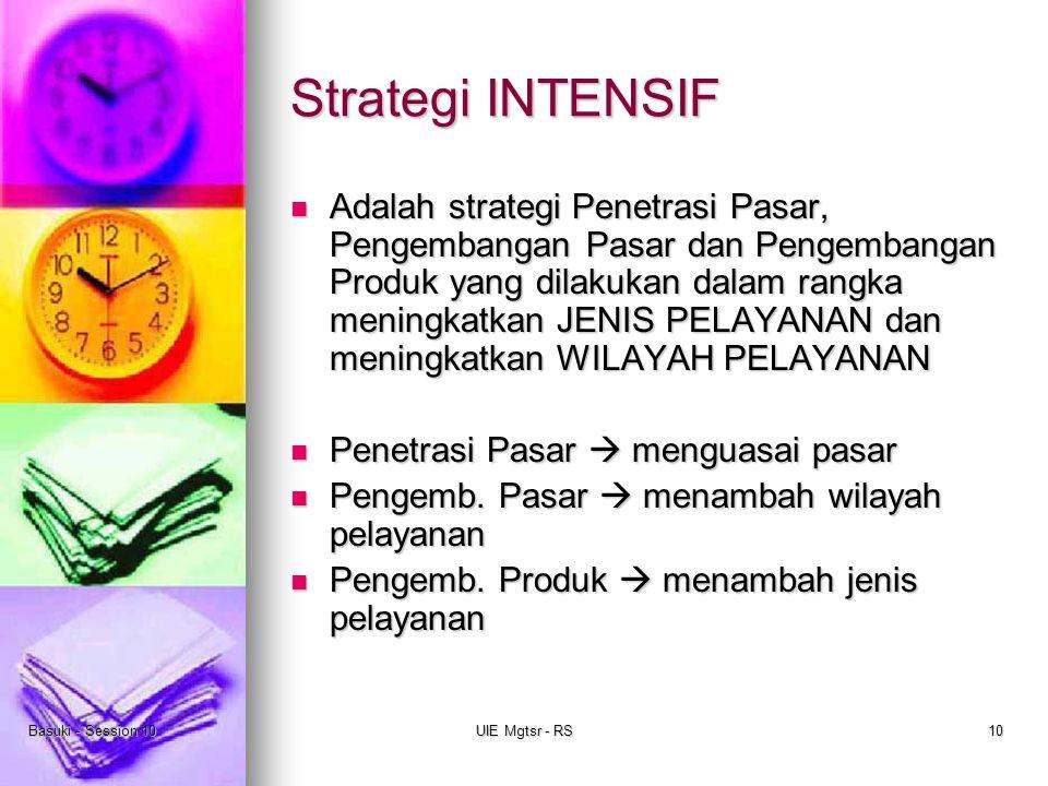 Basuki - Session 10UIE Mgtsr - RS10 Strategi INTENSIF Adalah strategi Penetrasi Pasar, Pengembangan Pasar dan Pengembangan Produk yang dilakukan dalam