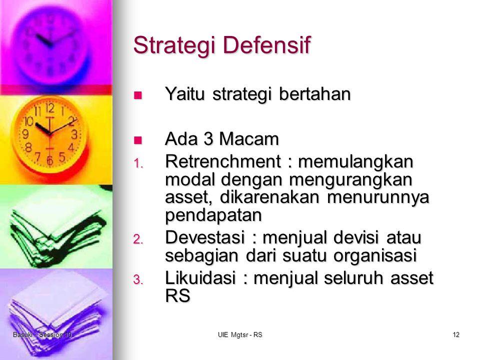 Basuki - Session 10UIE Mgtsr - RS12 Strategi Defensif Yaitu strategi bertahan Yaitu strategi bertahan Ada 3 Macam Ada 3 Macam 1. Retrenchment : memula