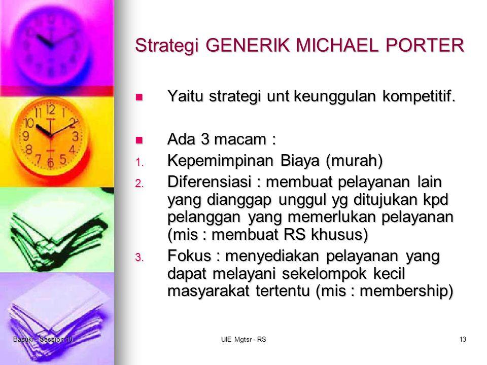 Basuki - Session 10UIE Mgtsr - RS13 Strategi GENERIK MICHAEL PORTER Yaitu strategi unt keunggulan kompetitif. Yaitu strategi unt keunggulan kompetitif