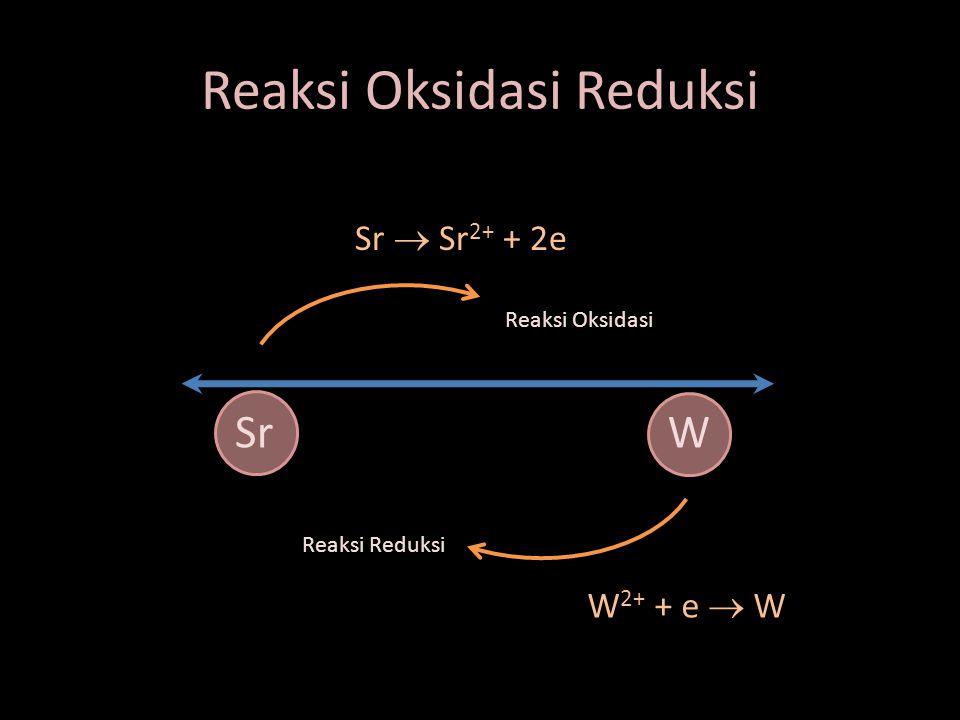 Reaksi Oksidasi Reduksi SrW Reaksi Oksidasi Reaksi Reduksi Sr  Sr 2+ + 2e W 2+ + e  W