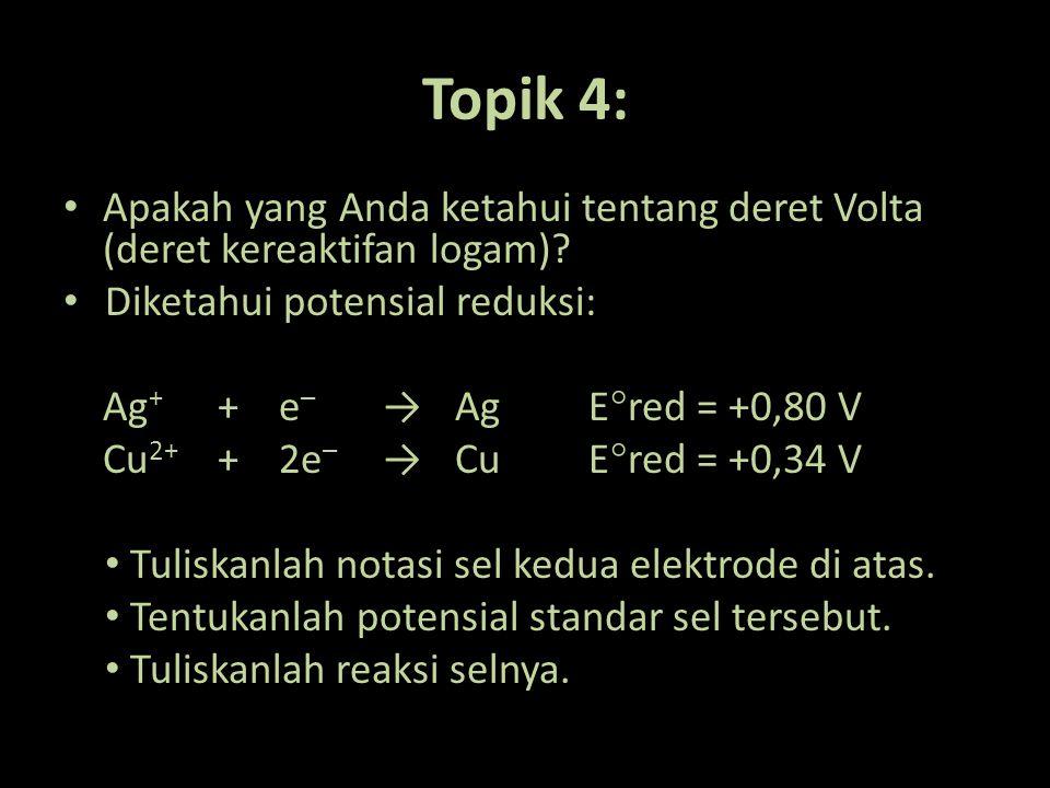 Deret Volta (Deret Kereaktifan Logam) Li-K-Ba-Sr-Ca-Na-Mg-Al-Zn-Cr-Fe-Co-Ni-Sn-Pb-(H)-Cu-Hg-Ag-Pt-Au E  red < 0 E  red > 0 E  red = 0 Semakin ke kiri: 1.Sifat reduktor makin kuat 2.Semakin mudah teroksidasi Semakin ke kanan: 1.Sifat oksidator makin kuat 2.Semakin mudah tereduksi
