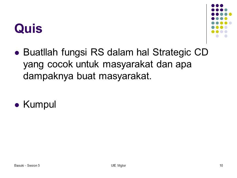 Basuki - Sesion 5UIE Mgtsr10 Quis Buatllah fungsi RS dalam hal Strategic CD yang cocok untuk masyarakat dan apa dampaknya buat masyarakat. Kumpul