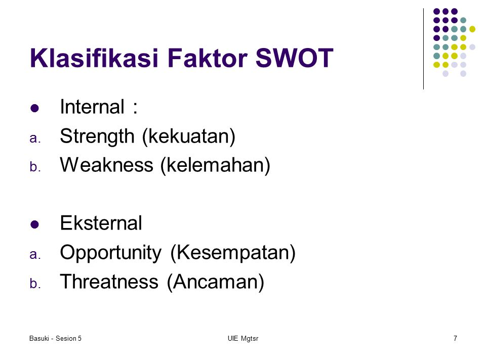 Basuki - Sesion 5UIE Mgtsr7 Klasifikasi Faktor SWOT Internal : a. Strength (kekuatan) b. Weakness (kelemahan) Eksternal a. Opportunity (Kesempatan) b.
