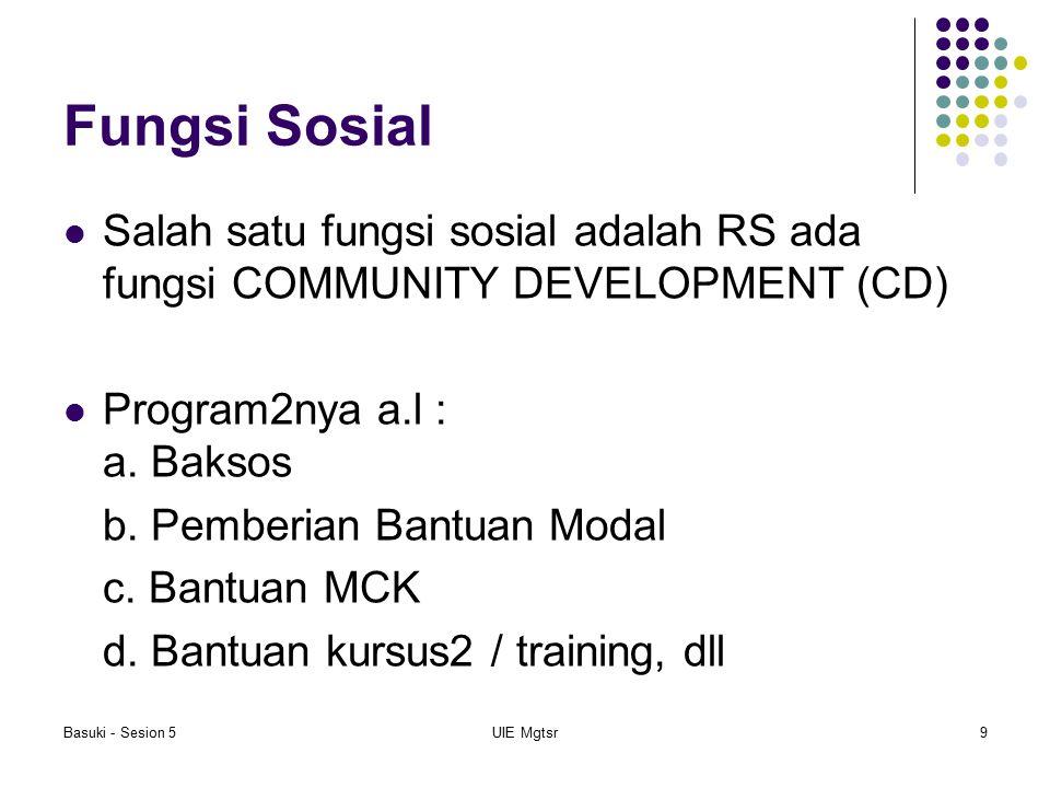 Basuki - Sesion 5UIE Mgtsr9 Fungsi Sosial Salah satu fungsi sosial adalah RS ada fungsi COMMUNITY DEVELOPMENT (CD) Program2nya a.l : a. Baksos b. Pemb