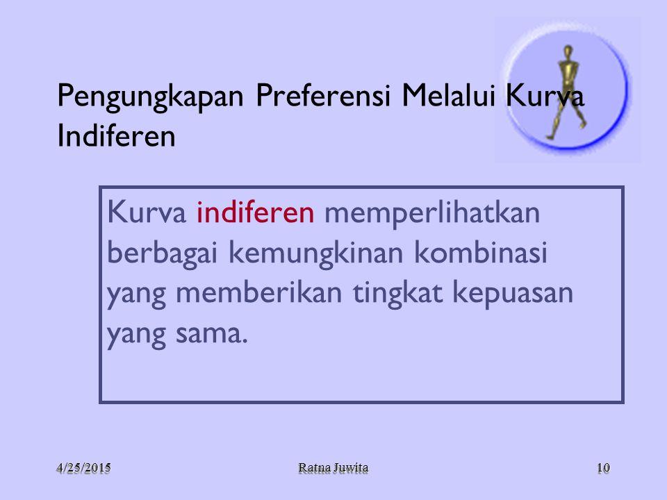 4/25/20154/25/2015 Ratna Juwita Pengungkapan Preferensi Melalui Kurva Indiferen Kurva indiferen memperlihatkan berbagai kemungkinan kombinasi yang mem