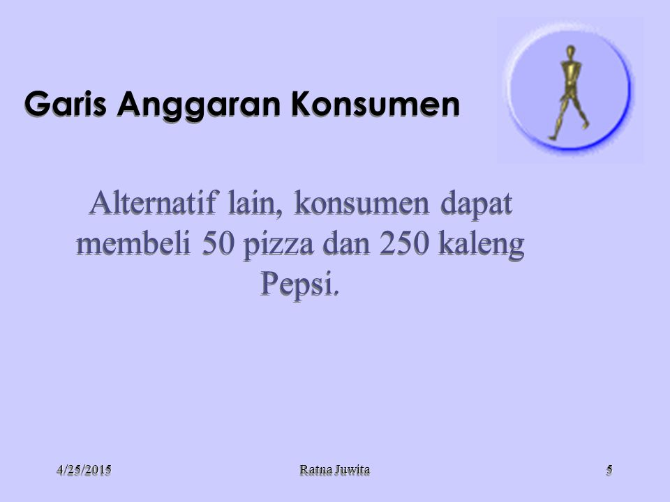 4/25/20154/25/2015 Ratna Juwita Garis Anggaran Konsumen Kuantitas Pepsi Kendala Anggaran Konsumen 100 A 500 B Kuantitas Pizza 0 250 50 C66