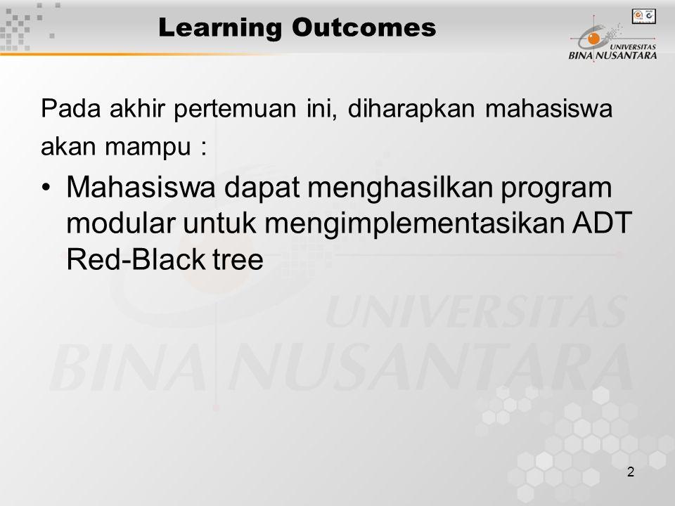2 Learning Outcomes Pada akhir pertemuan ini, diharapkan mahasiswa akan mampu : Mahasiswa dapat menghasilkan program modular untuk mengimplementasikan ADT Red-Black tree
