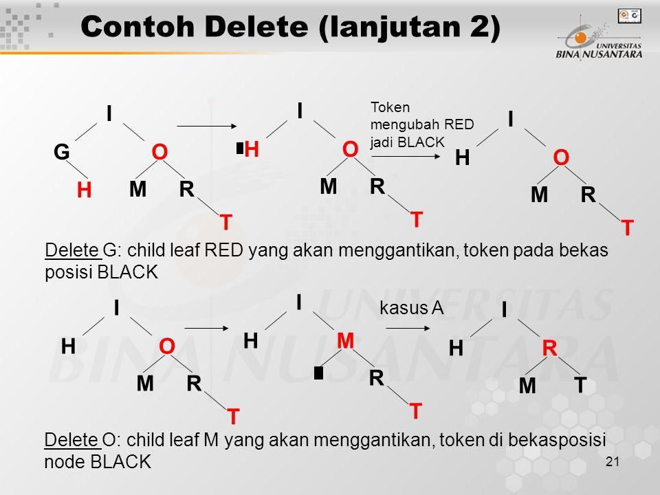 21 Contoh Delete (lanjutan 2) G M I O R T H Delete G: child leaf RED yang akan menggantikan, token pada bekas posisi BLACK H M I O R T H M I O R T Token mengubah RED jadi BLACK H M I O R T H I M R T H I R T M kasus A Delete O: child leaf M yang akan menggantikan, token di bekasposisi node BLACK
