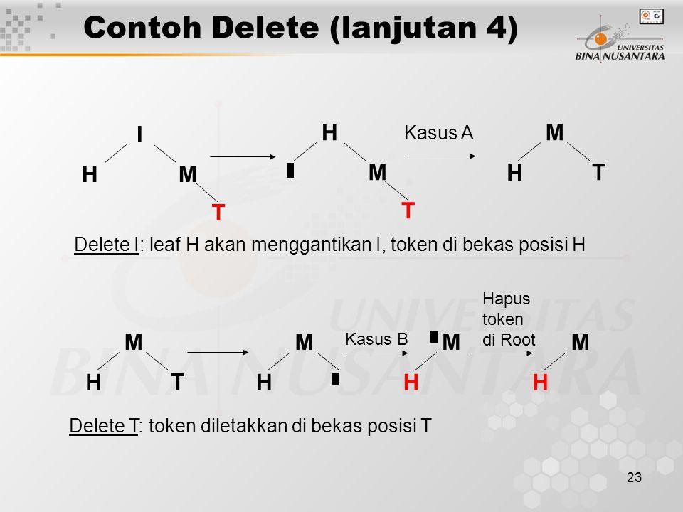 23 Contoh Delete (lanjutan 4) H I M T Delete I: leaf H akan menggantikan I, token di bekas posisi H H M T Kasus A M T H M T H Delete T: token diletakkan di bekas posisi T M H Kasus B M H M H Hapus token di Root
