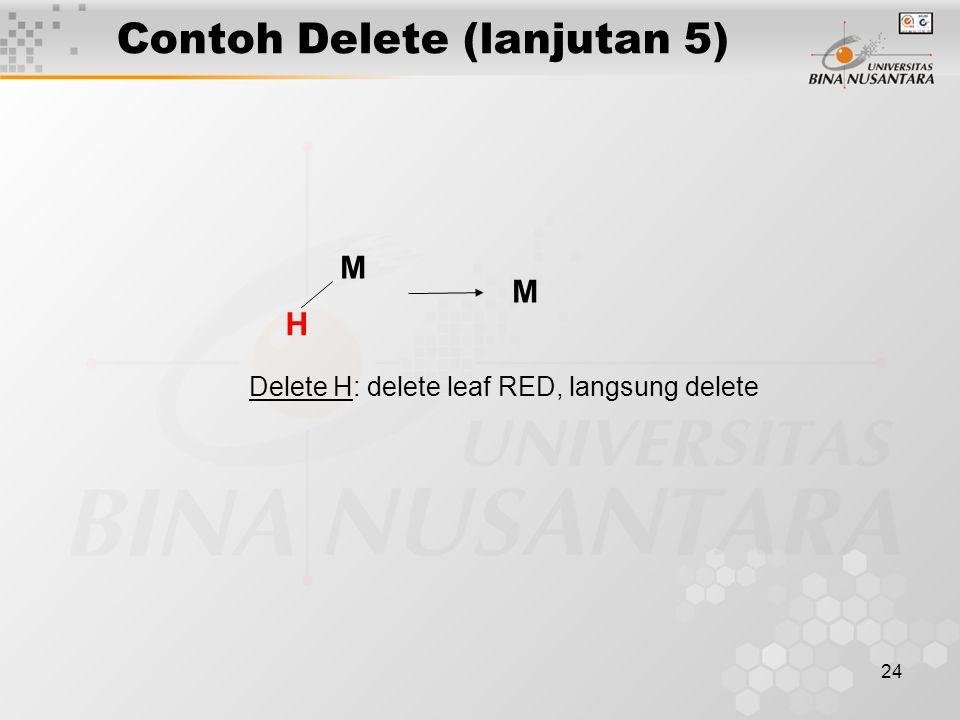 24 Contoh Delete (lanjutan 5) M H Delete H: delete leaf RED, langsung delete M