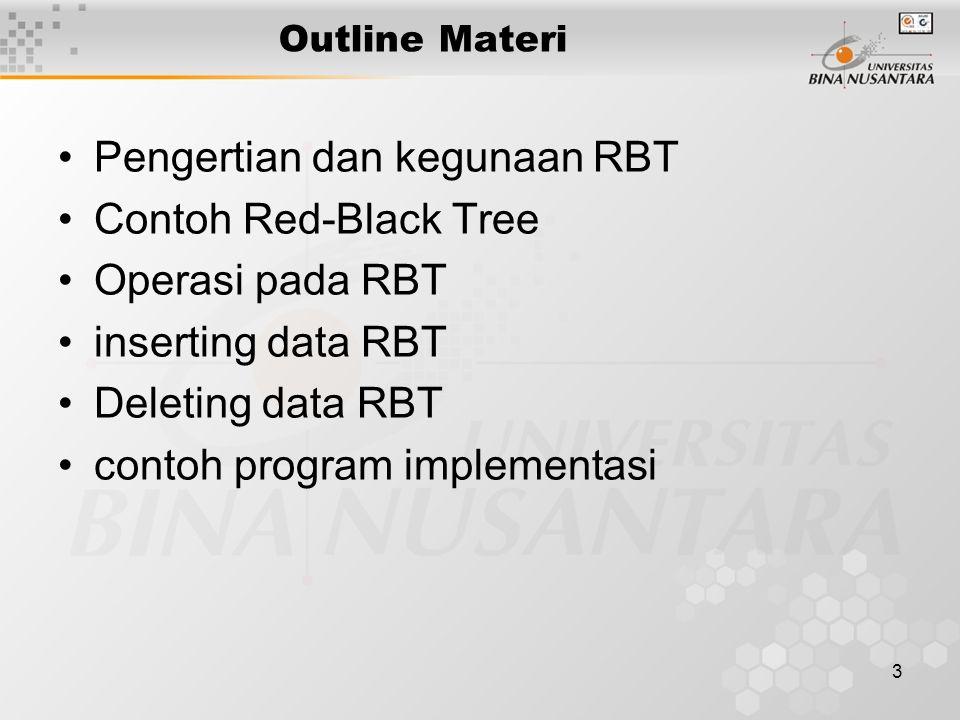 14 Delete Delete pada tree R-B menyerupai BST Pada BST : Jika node 56 dihapus, isi child (3) di-copy ke posisi 56 yg dihapus, dan node child dihapus Pada tree R-B : –Hapus node BLACK akan menyebabkan keseimbangan black- height terganggu –Token double-black 'menggantikan' posisi BLACK yg dihapus –Proses thd token, mengikuti kasus A, B atau C 3 56 3 3
