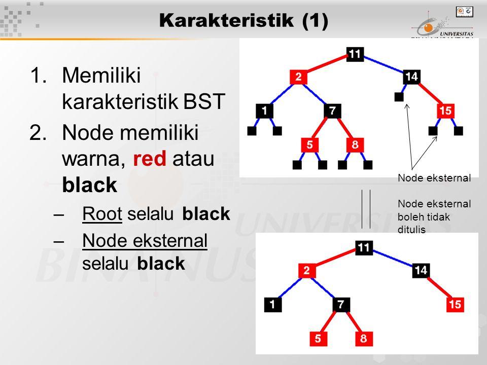 15 Delete (lanjutan) Token double-black pada node RED: mengubah warna node menjadi BLACK, dan token akan dihapus Token double-black pada Root (BLACK): dapat dihapus, tidak ada pengaruh Delete leaf RED, langsung dihapus karena tidak mempengaruhi keseimbangan black-height