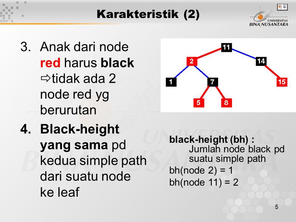 5 Karakteristik (2) 3.Anak dari node red harus black  tidak ada 2 node red yg berurutan 4.Black-height yang sama pd kedua simple path dari suatu node ke leaf black-height (bh) : Jumlah node black pd suatu simple path bh(node 2) = 1 bh(node 11) = 2