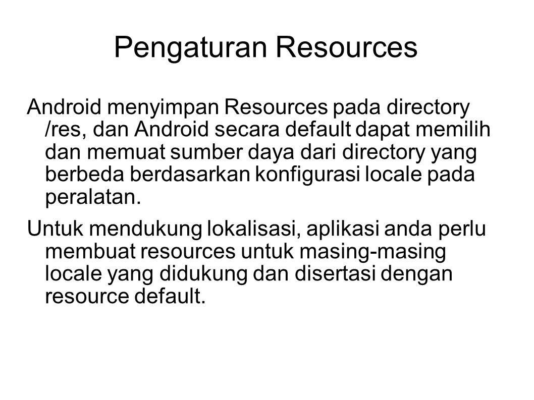 Pengaturan Resources Android menyimpan Resources pada directory /res, dan Android secara default dapat memilih dan memuat sumber daya dari directory y