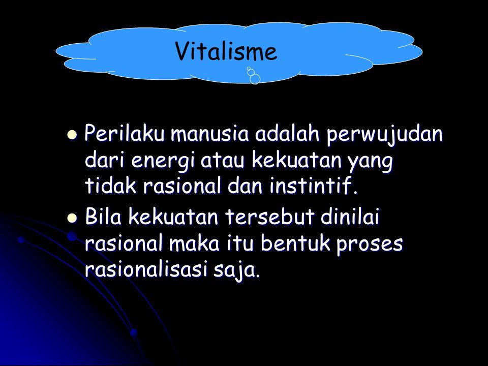 Vitalisme Perilaku manusia adalah perwujudan dari energi atau kekuatan yang tidak rasional dan instintif. Perilaku manusia adalah perwujudan dari ener
