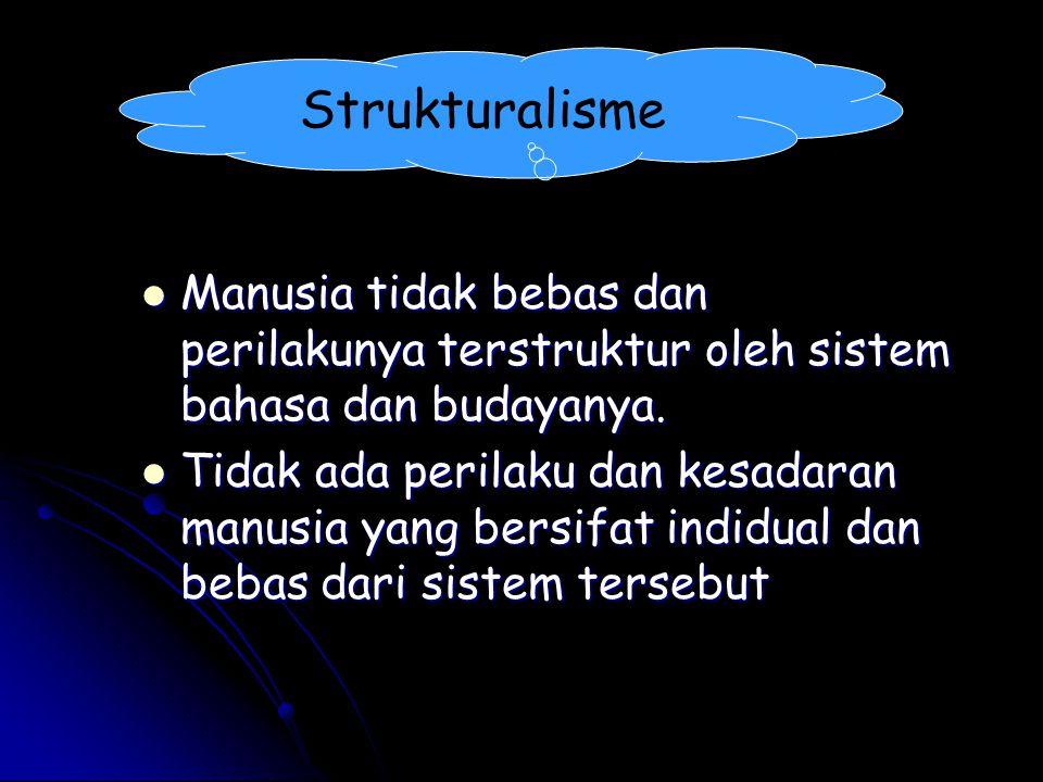 Strukturalisme Manusia tidak bebas dan perilakunya terstruktur oleh sistem bahasa dan budayanya. Manusia tidak bebas dan perilakunya terstruktur oleh