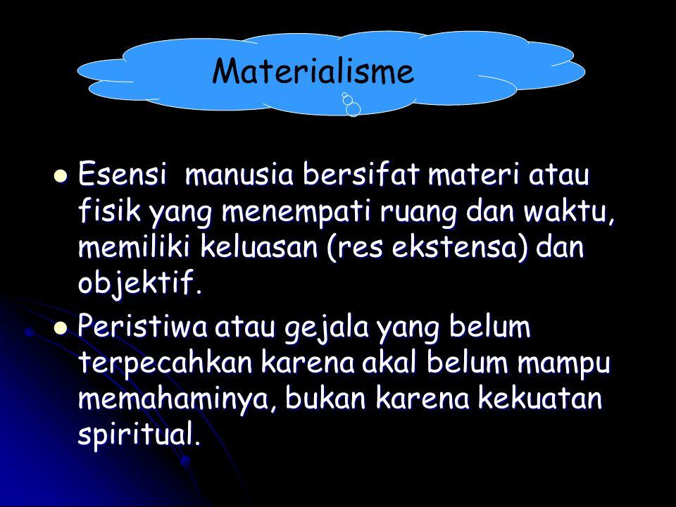 Materialisme Esensi manusia bersifat materi atau fisik yang menempati ruang dan waktu, memiliki keluasan (res ekstensa) dan objektif. Esensi manusia b