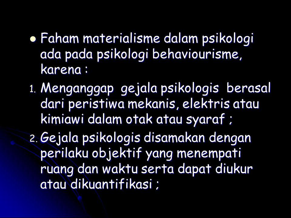 Faham materialisme dalam psikologi ada pada psikologi behaviourisme, karena : Faham materialisme dalam psikologi ada pada psikologi behaviourisme, kar