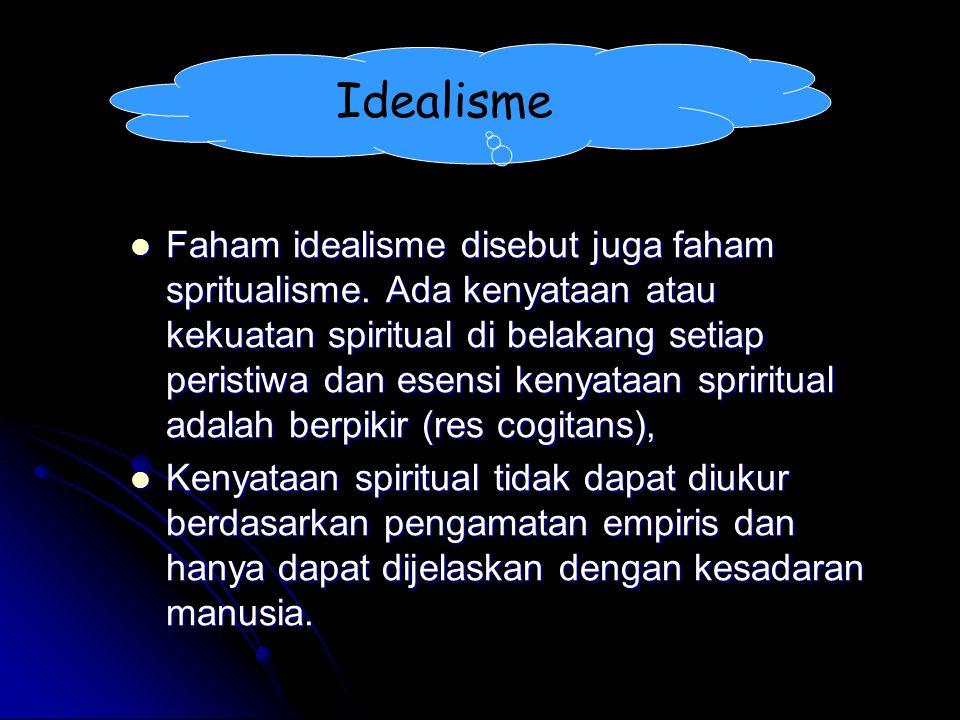 Idealisme Faham idealisme disebut juga faham spritualisme. Ada kenyataan atau kekuatan spiritual di belakang setiap peristiwa dan esensi kenyataan spr