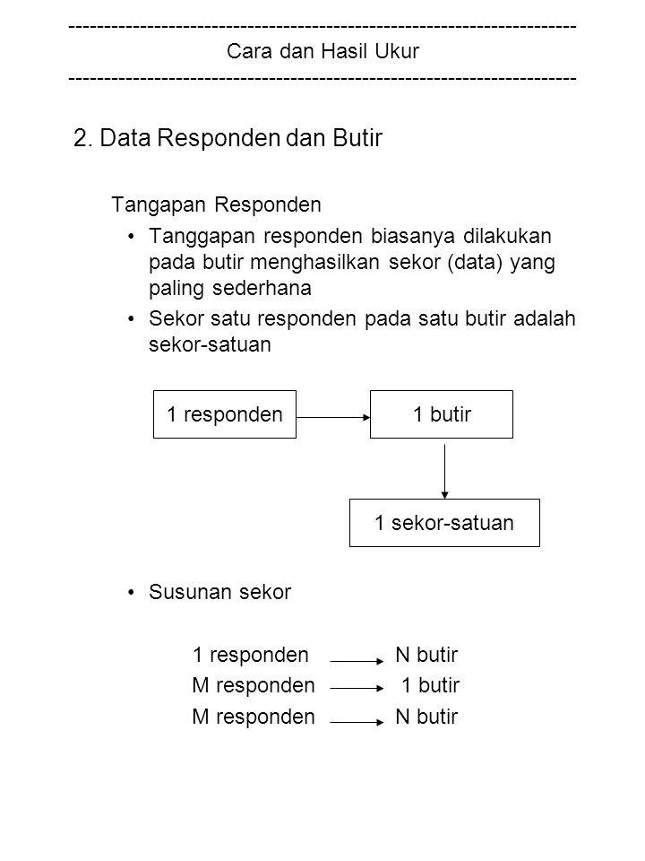 2. Data Responden dan Butir Tangapan Responden Tanggapan responden biasanya dilakukan pada butir menghasilkan sekor (data) yang paling sederhana Sekor