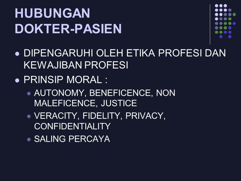 HUBUNGAN DOKTER-PASIEN DIPENGARUHI OLEH ETIKA PROFESI DAN KEWAJIBAN PROFESI PRINSIP MORAL : AUTONOMY, BENEFICENCE, NON MALEFICENCE, JUSTICE VERACITY,