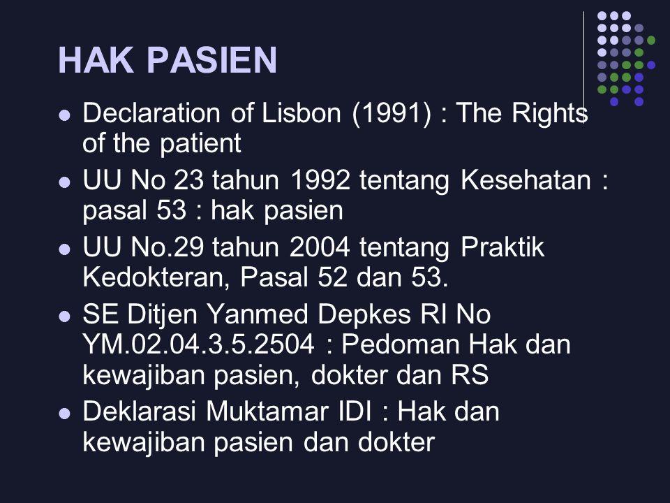 HAK PASIEN Declaration of Lisbon (1991) : The Rights of the patient UU No 23 tahun 1992 tentang Kesehatan : pasal 53 : hak pasien UU No.29 tahun 2004