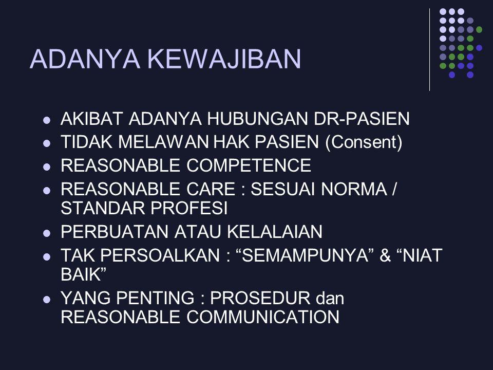ADANYA KEWAJIBAN AKIBAT ADANYA HUBUNGAN DR-PASIEN TIDAK MELAWAN HAK PASIEN (Consent) REASONABLE COMPETENCE REASONABLE CARE : SESUAI NORMA / STANDAR PR