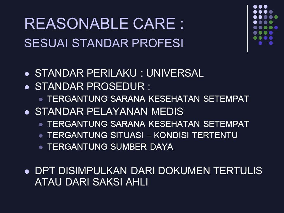 REASONABLE CARE : SESUAI STANDAR PROFESI STANDAR PERILAKU : UNIVERSAL STANDAR PROSEDUR : TERGANTUNG SARANA KESEHATAN SETEMPAT STANDAR PELAYANAN MEDIS