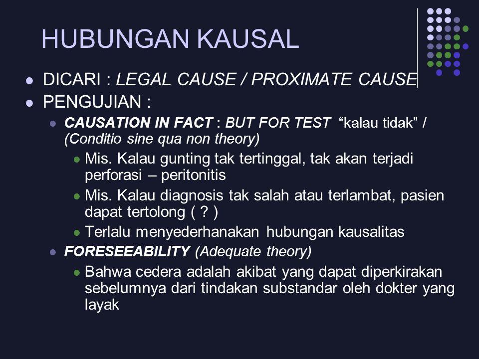"HUBUNGAN KAUSAL DICARI : LEGAL CAUSE / PROXIMATE CAUSE PENGUJIAN : CAUSATION IN FACT : BUT FOR TEST ""kalau tidak"" / (Conditio sine qua non theory) Mis"
