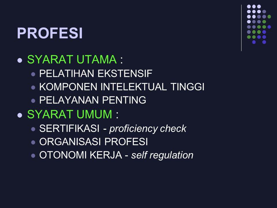 PROFESI SYARAT UTAMA : PELATIHAN EKSTENSIF KOMPONEN INTELEKTUAL TINGGI PELAYANAN PENTING SYARAT UMUM : SERTIFIKASI - proficiency check ORGANISASI PROF