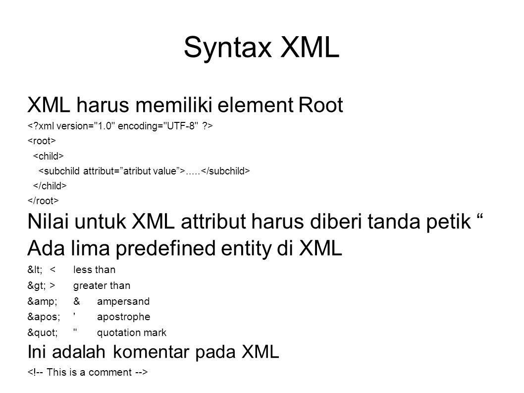"""Syntax XML XML harus memiliki element Root..... Nilai untuk XML attribut harus diberi tanda petik """" Ada lima predefined entity di XML &lt; < less than"""