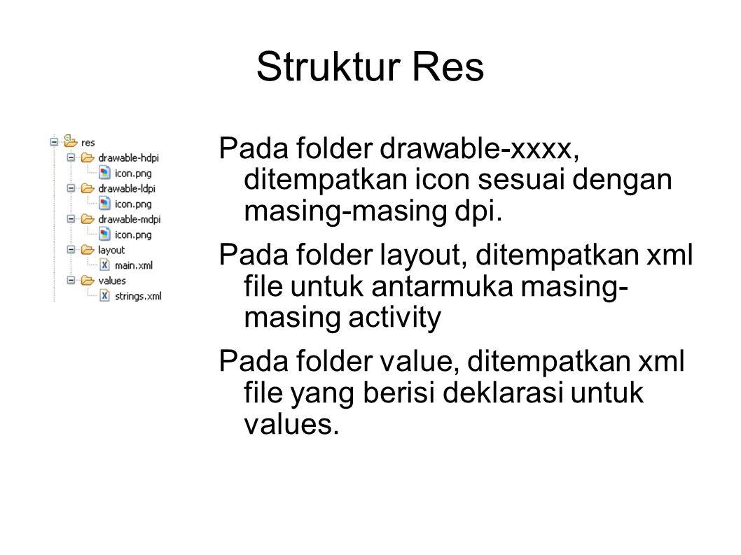 Struktur Res Pada folder drawable-xxxx, ditempatkan icon sesuai dengan masing-masing dpi. Pada folder layout, ditempatkan xml file untuk antarmuka mas