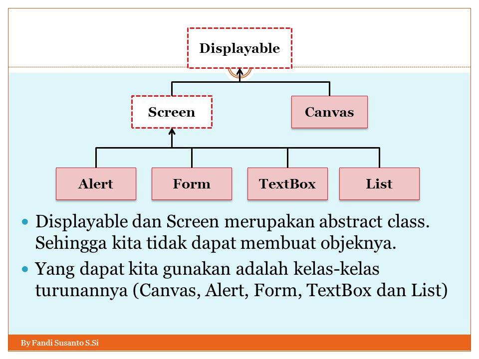 Menggunakan StringItem By Fandi Susanto S.Si Metode-metode pada StringItem:  getAppearanceMode();  getFont();  getText();  setText(String teks);  setPreferredSize(int lebar, int tinggi); Metode turunan (dari objek Item):  addCommand(Command);  setLayout(int Layout);  removeCommand(Command);  setLabel(String teks);  dkk