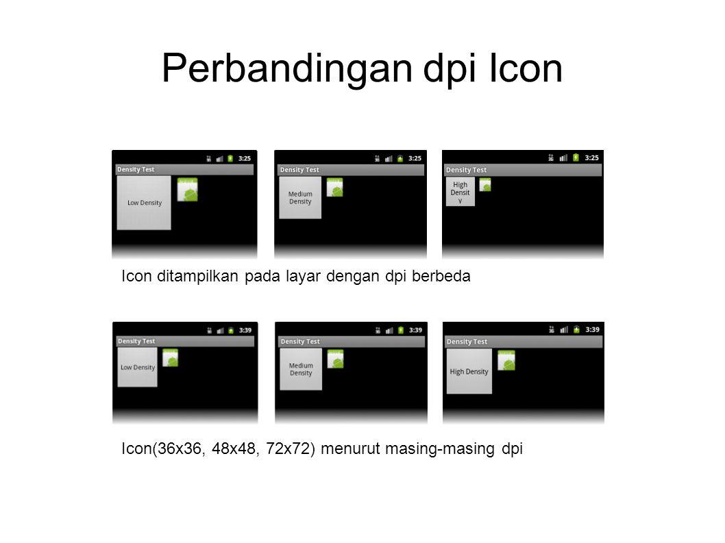 Perbandingan dpi Icon Icon ditampilkan pada layar dengan dpi berbeda Icon(36x36, 48x48, 72x72) menurut masing-masing dpi