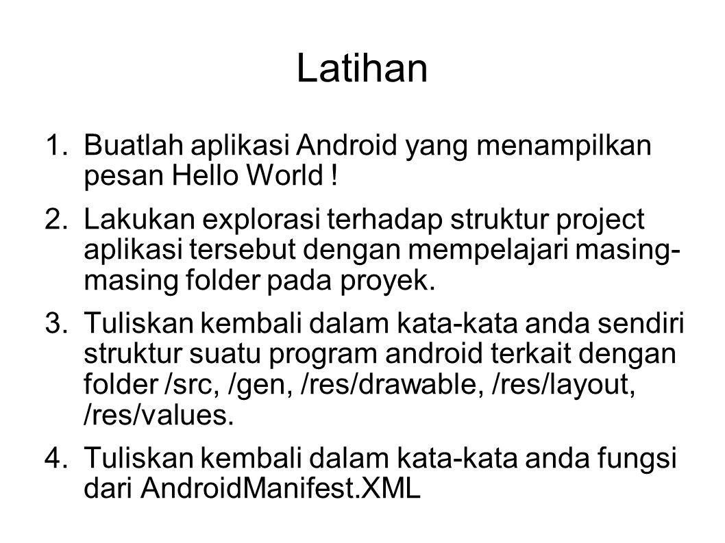 Latihan 1.Buatlah aplikasi Android yang menampilkan pesan Hello World ! 2.Lakukan explorasi terhadap struktur project aplikasi tersebut dengan mempela