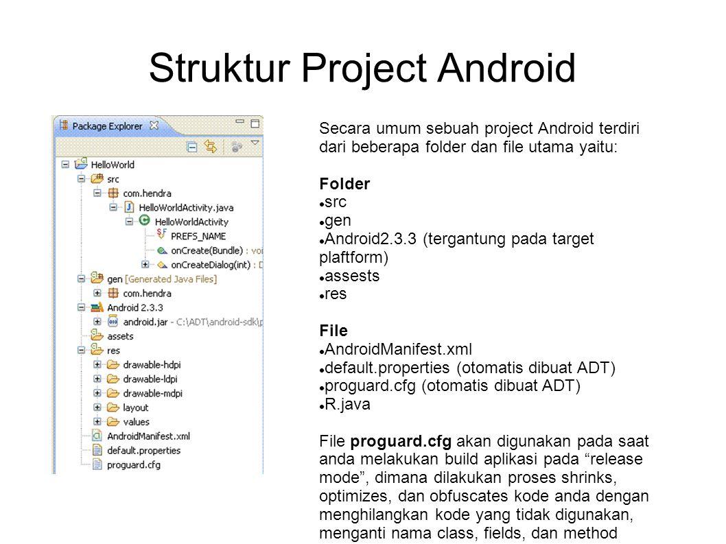 Struktur Project Android Secara umum sebuah project Android terdiri dari beberapa folder dan file utama yaitu: Folder src gen Android2.3.3 (tergantung