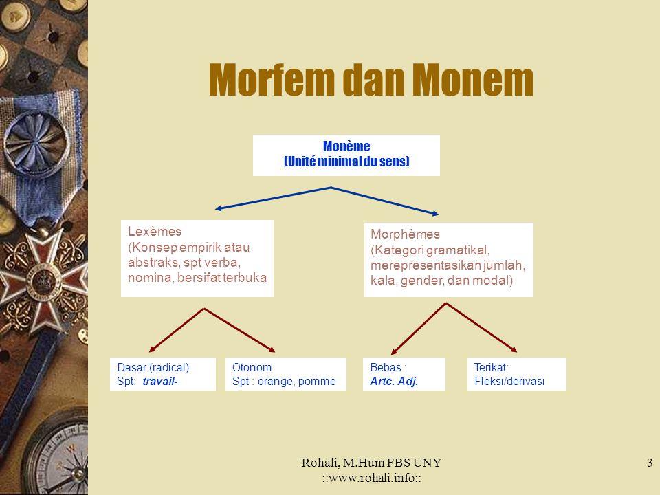 3 Morfem dan Monem Monème (Unité minimal du sens) Lexèmes (Konsep empirik atau abstraks, spt verba, nomina, bersifat terbuka Morphèmes (Kategori gramatikal, merepresentasikan jumlah, kala, gender, dan modal) Dasar (radical) Spt: travail- Otonom Spt : orange, pomme Bebas : Artc.