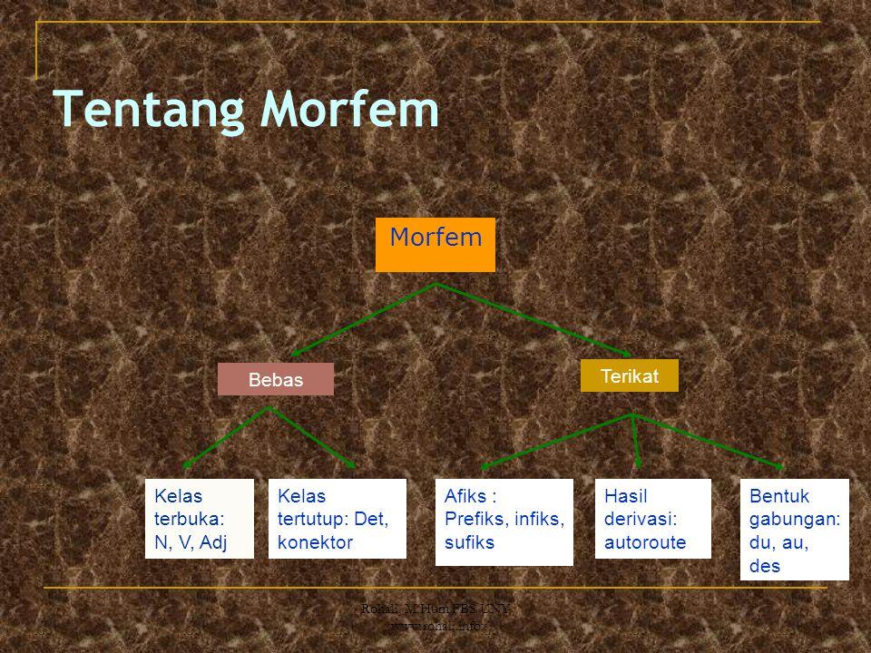 3 Morfem dan Monem Monème (Unité minimal du sens) Lexèmes (Konsep empirik atau abstraks, spt verba, nomina, bersifat terbuka Morphèmes (Kategori grama