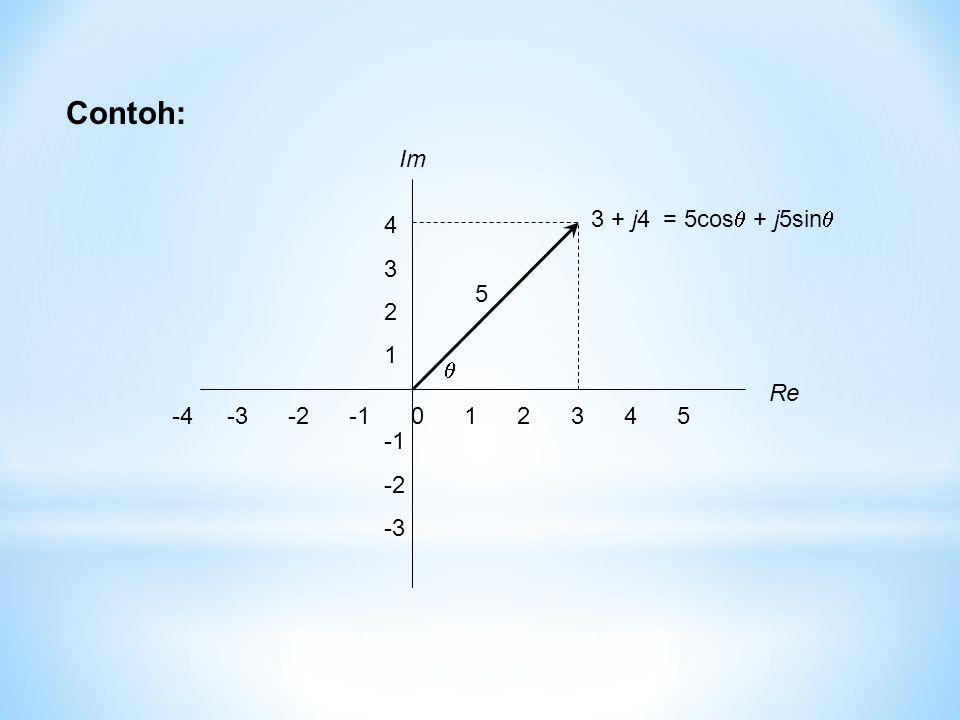 -4 -3 -2 -1 0 1 2 3 4 5 Re Im 4 3 2 1 -2 -3 3 + j4 = 5cos  + j5sin   5 Contoh: