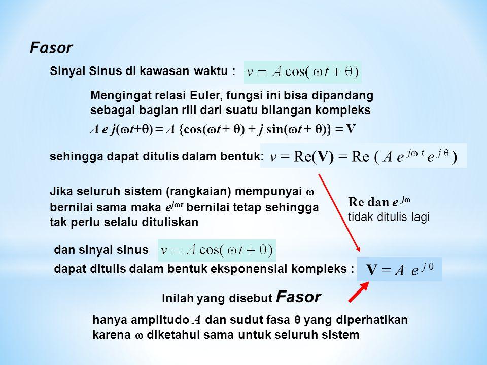 Fasor hanya amplitudo A dan sudut fasa θ yang diperhatikan karena  diketahui sama untuk seluruh sistem Sinyal Sinus di kawasan waktu : Mengingat rela